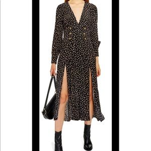 Topshop Printed Button Midi Dress Worn Once